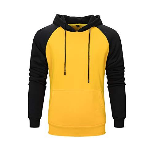 HAINE Herren Pullover Hoodie Sweatshirts mit Känguru Taschen Langarm Top (Gelb, groß)