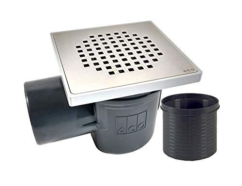 ACO Kellerablauf 310054 DN100 mit Geruchsverschluß Quadrato Edelstahlrost + Verlängerung -