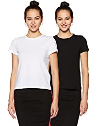 Symbol Amazon Brand Women's Plain Regular Fit T-Shirt (Pack of 2)