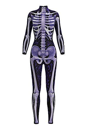 (URVIP Damen Halloween Jumpsuit Kostüm 3D Print Langarm Skinny Knochen Skeleton Catsuit Cosplay Skelett Overall Bodysuit Anzug Karneval Fasching BDS-97005 M)