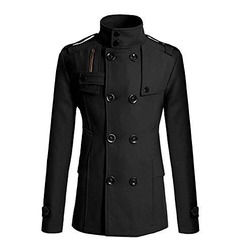 Herren Mantel Seemannsjacke Pea Coat Wolle Mischung Mariner Jacke Cabanjacke Schwarz (Jacke Wolle Mantel Mischung)
