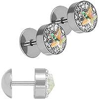 Cubic zirconia 1 coppia di poli star glitter Plug Fakeplug Orecchini in acciaio inox argento