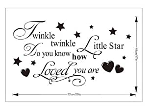"""Coco Digital """"Twinkle twinkle little star,do you know how loved you are.""""English Proverbs Nursery Vinyl Wall Art Decal"""