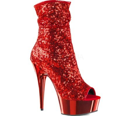 Pleaser DELIGHT-1008SQ Red Sequins/Red Chrome