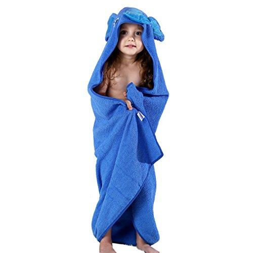 MICHLEY Kapuzenhandtuch Baby, 90x90cm Baumwolle Badetücher mit Kapuze für 0-6 Jahre Kinder Blau Elefant