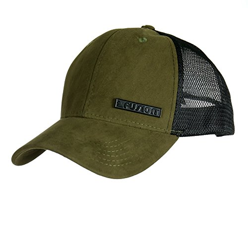 Fusion Climb Vichy Wildleder Meshback Verstellbar Snapback Sports Baseball Golf Cap Polo Style Unisex Dad Hat Sonnenschutz Visier, Unisex, Olive Green Suede Mesh, One Size Fits All Green Low Profile Cap