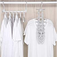JEBBLAS Ultra Space Saving Clothes Hangers, Multi-function clothes rack Non Slip 6-Pack Coat Hanger, Grey Strong Plastic Folding Coathangers Dresses, Skirts, Shirts, Sweaters