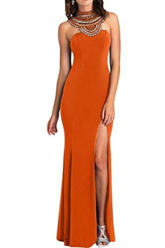 ivyd ressing–Haute Qualité strass fente rueckenfrei mousseline Prom robe Lave-vaisselle robe robe du soir Orange