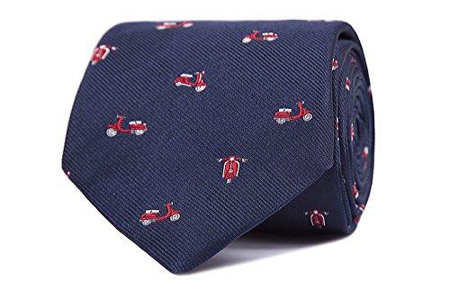 SoloGemelos - Corbata Vespas - Azul Rojo - Hombres - Talla Unica