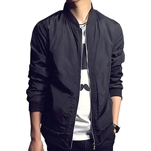 Qingxian Herren Jacke Sweatjacke Freizeitjacke Slim Fit Jacke Bomberjacke Light Bomber Jacket