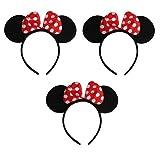 Sonnenscheinschuhe® Dreierpack: 3 x Haarreif Maus Ohren mit Schleife Fastnacht Fasching Karneval Kostüm Maus