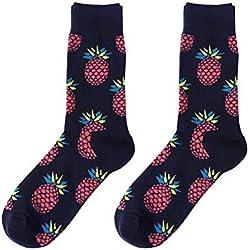 Lymocha 1 Pares Calcetines de algodón Largos medianos,Calcetines Patrón de Frutas para Unisex otoño e Invierno Size para 34-44 Yardas (Marina Piña)