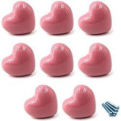 Armoire en cšŠramique poignšŠes tiroirs boutons de la forme du coeur boutons de placard pour les boutons de cuisine enfants salle armoires placards Toy organisateur bo?te bibliothššque-8pcs Rose