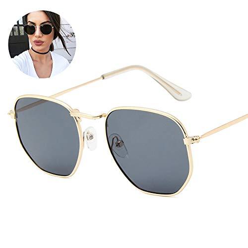 d5fad50f26 El marco de Metal hexagonal fresco océano color lente gafas de sol de  regalo (oro