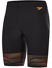 Speedo Lane Pantalones Cortos, Hombre, Negro/Naranja (Fluorescente), 40