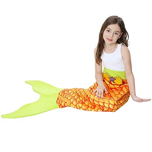 Decke Meerjungfrau Schwanz Decke Hand häkeln kuscheln Meerjungfrau für Kinder All Seasons Seatail Schlafsack Decke (N)