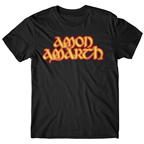 T-shirt Uomo Amon Amarth - Fire Logo - Maglietta 100% cotone LaMAGLIERIA,XL, Nero