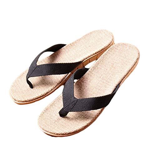 Männer Leinen Flip Flops Stoff Gurtband Flachs Flache Hausschuhe rutschfeste Clip Toe Schuhe Casual T-Strap Post Thongs Sandalen