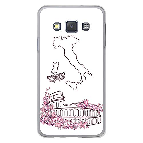 BJJ SHOP Transparent Hülle für [ Samsung Galaxy A3 2015 ], Klar Flexible Silikonhülle, Design: Römisches Kolosseum, Italien