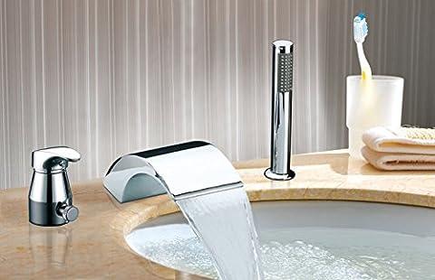 UHM à remous Cascade généralisée 3pcs baignoire Robinet pour lavabo robinet poignée en laiton