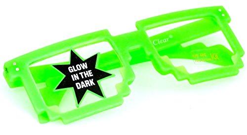 Pixel Style Grün Neon leuchtend UV Schutz Geek Nerd-Brille ohne Seh-Strärke Party-Brille Unisex (Super Dunkle Sonnenbrille)