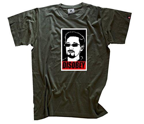 Edward Snowden - Disobey - Whistleblower T-Shirt Olive L