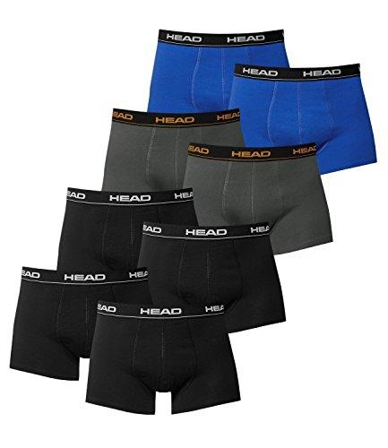 HEAD Herren Boxer Boxershort Unterhose 8 Stück 4x Schwarz / 2x Dark Shadow / 2x Blue/Black