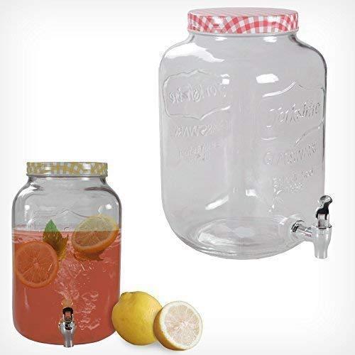 Getränkespender mit Hahn 3L 7L Glas Landhaus Dispenser Getränke Spender Saft (7,5 Liter, Rot)