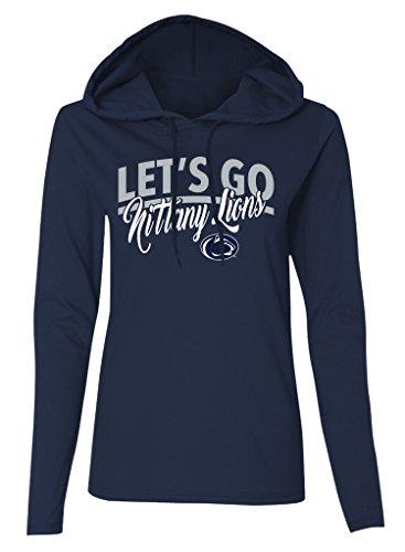 Old Varsity Marke Frauen Long Sleeve Penn State Nittany Lions Damen LS Kapuzen T-Shirt, Damen, Ladies Long Sleeve Hooded T-Shirt, Navy - Penn Longsleeve