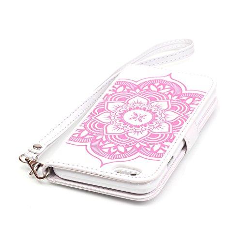 iPhone 6S Lederhülle,iPhone 6 Hülle,JAWSEU Niedlich Blau Feder Pu Leder Magnetverschluss Kunstleder Handytasche Brieftasche Bookstyle Rückschale Handyhülle Schutzhülle Etui Case mit[Ständerfunktion] u Traumfänger,Weiß+Pink