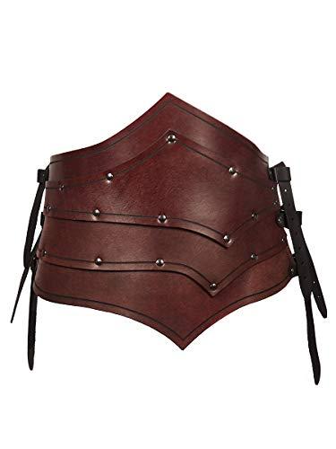 Schurke Kostüm Cosplay - Andracor - Asymmetrischer Rüstgürtel aus echtem Leder für Assasinen, Schurken und Elfen - LARP, Cosplay und Fantasy - Braun