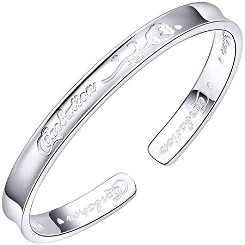 gyx Armband, 999 Reines Silber 21 g, Konkave Rose, Offenes Sterlingsilber-Armband, Gesichtsbreite 6MM, Lnnendurchmesser 52-55MM