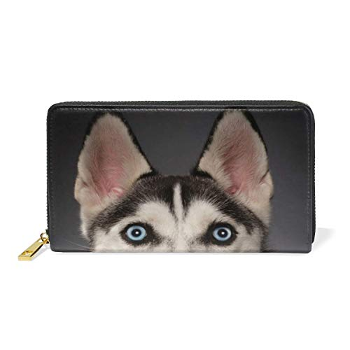 Werert Geldbörse Portemonnaie Colorful Dog Art Luxury Genuine Leather Girl Zipper Wallets Clutch Coin Phone for Women -