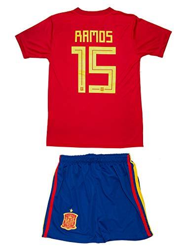 Spanien Heim Fußball Trikot (Spanien Ramos #15 2018 Heim Trikot und Shorts Kinder und Jugend Größe)