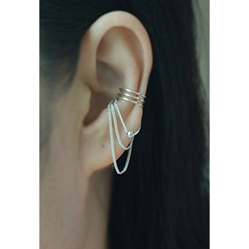 sterling-silver-3-band-with-chain-ball-ear-cuff-no-piercing-cartilage-ear-cuff-price-per-1-item-1-si