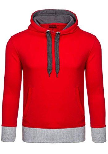 BOLF Herren Kapuzenpullover mit Kordelzug Bündchen Farbwahl Sweatshirt Hoodie 1A1 Rot
