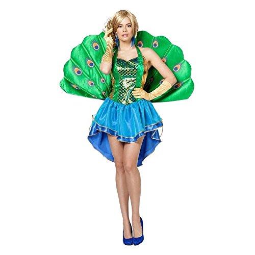 Damen Pfau Kostüme Erwachsene (NEU Damen-Kostüm Pfau, Kleid mit Rückenteil,)
