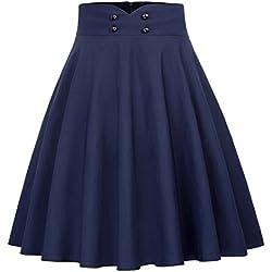 Belle Poque Falda Midi de Cintura Alta elástica Retro Ajustada y Flare Plisada de una Mujer XL Azul Marino (560-2)