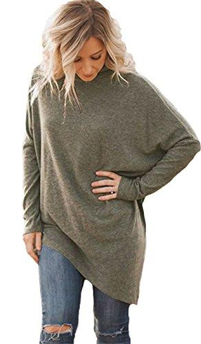 Col Roulé Roll Encolure Montante Haute Asymétrique Irregular Ourlet Plongeant Pull Sweater Jumper Haut Top Café