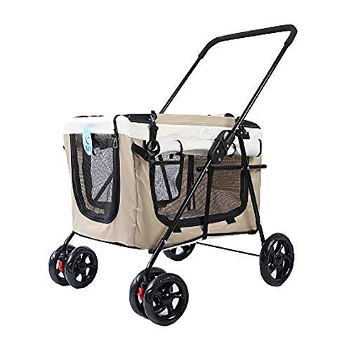 Hai Ying - Passeggini per cani e gatti, con trasportino rimovibile, pieghevole, da viaggio, per cani di piccola e media taglia, cuccioli, gatti, lettiera per gatti, facile da pulire