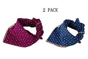 Unihubys Lot de 2bavoirs bandana Triangle Tête Écharpe Accessoires Foulard pour de petite et grande taille pour animal domestique Chien et Chat