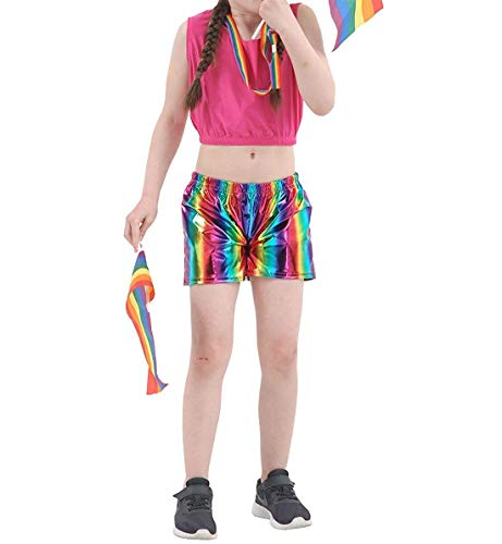 Children Shiny Metallic Rainbow Hot Pants Kids Wet Look Party Fancy Dress Shorts 11-12 Years.11-12