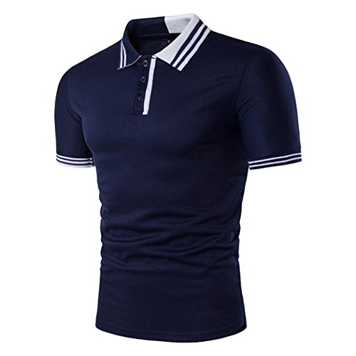 Meedot Herren Poloshirt Kurzarm Pullover Freizeit Shirt Sommer Tennis Golf Polo Slim Fit Poloshirts Oberteil Blau 2XL
