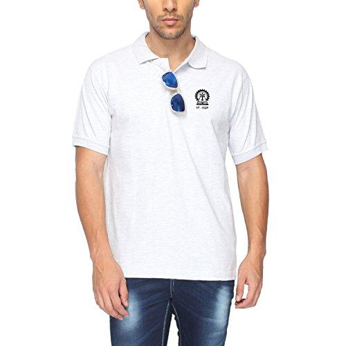 IIT-KGP Cotton Half Sleeve Collar Melange T-Shirt (White, Medium-40)