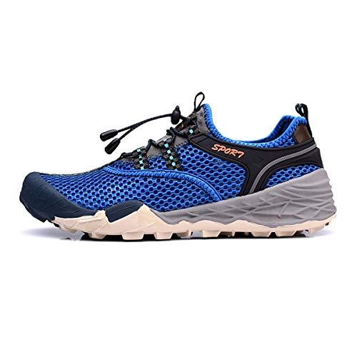 XWQXX Männer Wander Wasser-Sicherheits-Schuhe Jogging Basketball Badminton Schuhe, schnelltrocknende leichte Mesh Jogging Trail Outdoor-Turnschuhe,Blue-9.5UK