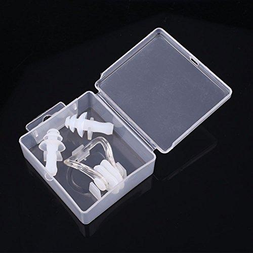 Forfar Sport weiches Silikon Anti Wasser Ohrstöpsel Ohrhörer Nasenklammer Schwimmen wasserdichtes Kit Tauchen Box Case Set