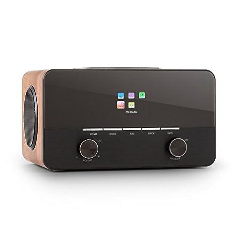 auna Connect 150 WD • 2.1-Internetradio • Digitalradio • WLAN-Radio • Netzwerkplayer • LAN • DAB / DAB+ / UKW-Tuner mit RDS • MP3-USB-Port • AUX • Breitbandlautsprecher • Wecker • Sleep-Timer • Dimmfunktion • Fernbedienung • Holzgehäuse • walnuss