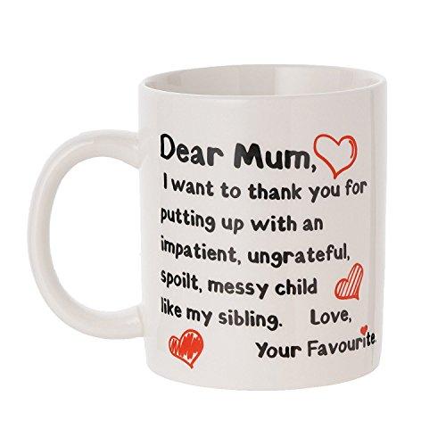 Tazza per la festa della mamma - 100% ceramica - con scritta divertente in rosso e nero - regalo ideale per festeggiare la festa della mamma.