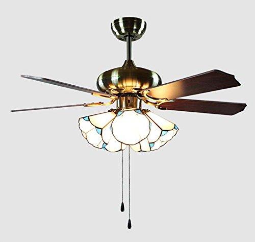 Ventilador de techo LED Encendedor les gráfico de estilo Tiffany Mediterráneo multifunción tres archivos...