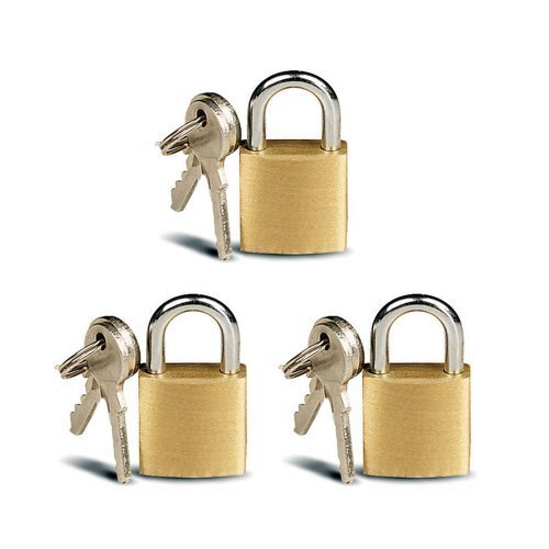 3 Small Metal Padlocks Mini Brass Tiny Box Locks Keyed Jewelry 2 Keys 20mm New ! by ATB -